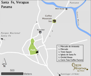 Map of Santa Fe, Veraguas, Panama